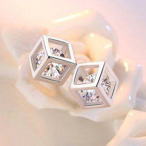 NEW 925 Sterling Silver Diamond Cube Stud Earrings